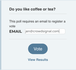 Enter email address to have vote validation sent to email address.