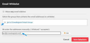 Choose individual email addresses or existing Crowdsignal email groups as eligible respondents to a poll.